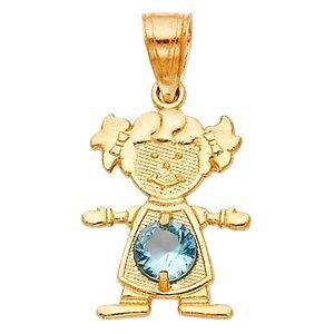 14kY Gold March Birthstone CZ Girl Pendant